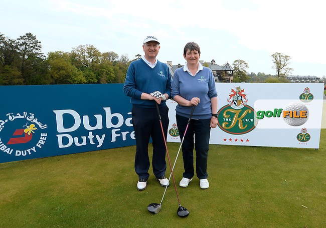 9 May 2016;  Noel Madden and Catherine O'Loughlin, from Lisheen Springs Golf Club. Dubai Duty Free Irish Open - All-Ireland Final for Pro-Am Qualifying Competition. The K Club Smurfit Course, Straffan, Co. Kildare, Ireland. <br /> Picture: Golffile | Caroline Quinn<br /> <br /> All photo usage must carry mandatory copyright credit (&copy; Golffile | Caroline Quinn)