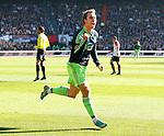Nederland, Rotterdam, 28 oktober 2012.Eredivisie.Seizoen 2012-2013.Feyenoord-Ajax.Christian Eriksen van Ajax juicht nadat hij de 0-1 heeft gescoord.