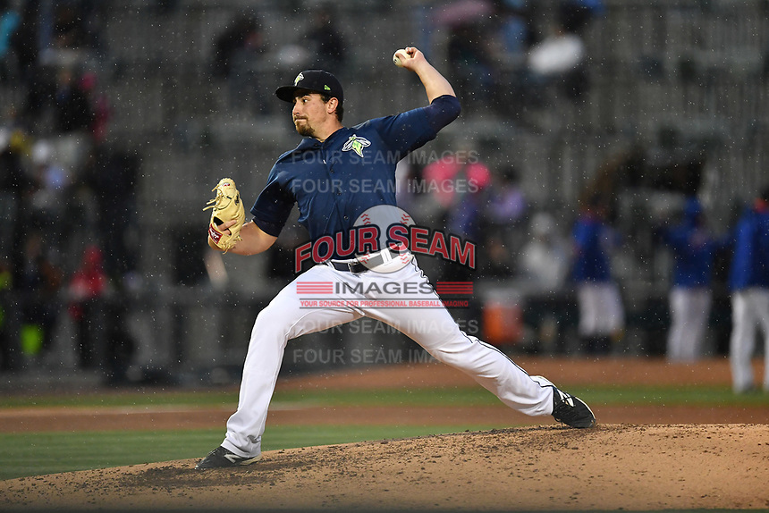 Starting pitcher Blake Taylor (28) of the Columbia Fireflies delivers a pitch in a game against the Lakewood BlueClaws on Saturday, May 6, 2017, at Spirit Communications Park in Columbia, South Carolina. Lakewood won, 1-0 with a no-hitter. (Tom Priddy/Four Seam Images)