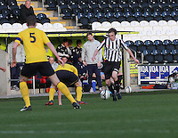 Kieran Doran runs at Ryan Blair in the St Mirren v Falkirk Clydesdale Bank Scottish Premier League Under 20 match played at St Mirren Park, Paisley on 30.4.13. .