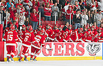 Wisconsin Badgers hockey team celebrates a goal during an NCAA hockey game against the Alabama Huntsville Chargers at the Kohl Center in Madison, Wisconsin on October 15, 2010. The Badgers won 7-0. (Photo by David Stluka)