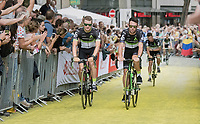 Mark Cavendish  (GBR/Dimension Data) on the Yellow Brick Road<br /> <br /> &quot;Le Grand D&eacute;part&quot; <br /> 104th Tour de France 2017 <br /> Team Presentation in D&uuml;sseldorf/Germany