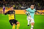05.11.2019, Signal Iduna Park, Dortmund , GER, Champions League, Gruppenphase, Borussia Dortmund vs Inter Mailand, UEFA REGULATIONS PROHIBIT ANY USE OF PHOTOGRAPHS AS IMAGE SEQUENCES AND/OR QUASI-VIDEO<br /> <br /> im Bild | picture shows:<br /> Duell zwischen Thorgan Hazard (Borussia Dortmund #23) und Lautaro Martinez (Inter #10), <br /> <br /> Foto © nordphoto / Rauch