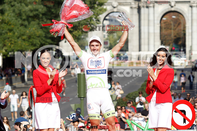 John Degenkolb celebrates the victory in the stage of La Vuelta 2012 beetwen Cercedilla and Madrid.September 9,2012. (ALTERPHOTOS/Acero)