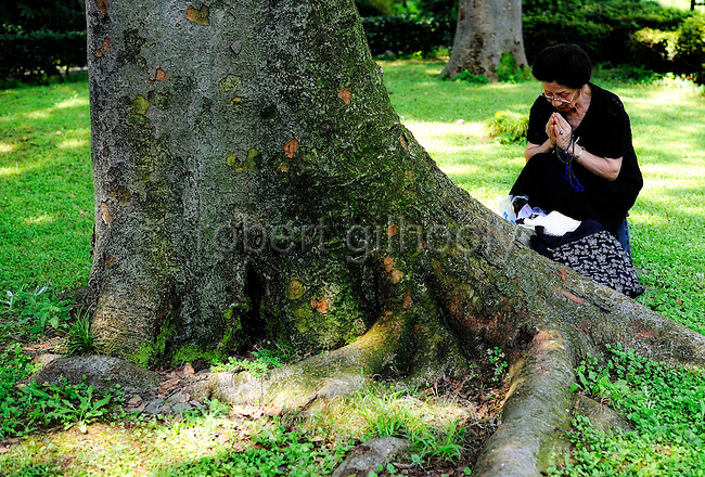 A woman prays by a tree at the National Cemetery in Tokyo on Saturday 15 Aug. 2009. Aug. 15 marks the 64th anniversary of Japan's surrender in the Pacific War.