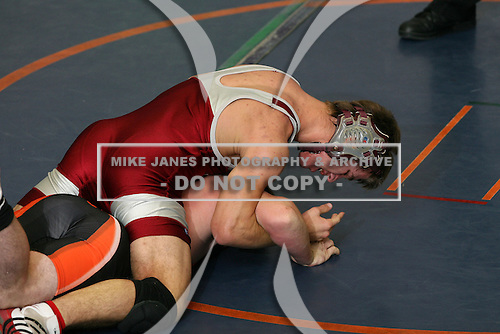 Lyndonville Tigers wrestling against the Byron-Bergen Bees during the second match of a tri-meet at Attica Senior High School on December 4, 2008 in Attica, New York.  (Copyright Mike Janes Photography)