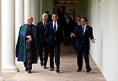 Washington, DC - May 6, 2009 -- United States President Barack Obama (center) with President Hamid Karzai of Aghanistan and President Asif Ali Zadari of Pakistan walk along the Colonnade following a US-Afghanistan-Pakistan Trilateral meeting in Cabinet Room, Wednesday,  May 6, 2009. .Credit: Pete Souza - The White House via CNP