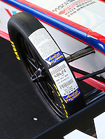 Mar 30, 2014; Las Vegas, NV, USA; Detailed view of the Goodyear  sticker tire on the car of NHRA top fuel driver Antron Brown during the Summitracing.com Nationals at The Strip at Las Vegas Motor Speedway. Mandatory Credit: Mark J. Rebilas-