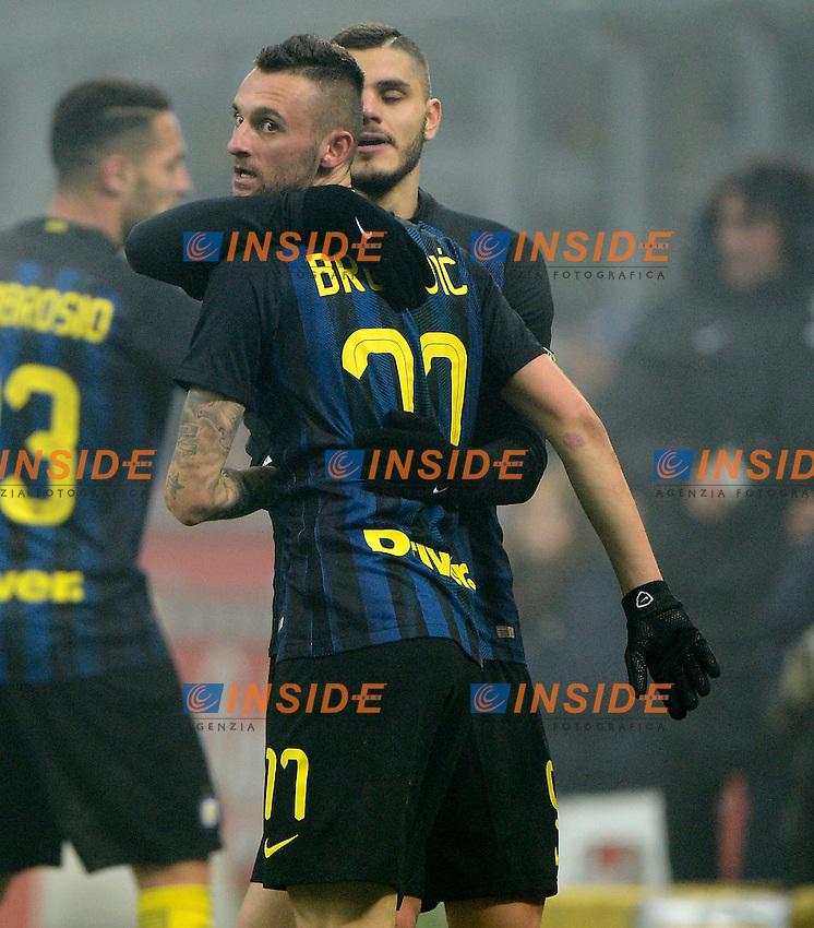Esultanza gol di Marcelo Brozovic Inter 2-0. Celebration goal con Mauro Icardi<br /> Milano 11-12-2016 Stadio Giuseppe Meazza - Football Calcio Serie A Inter - Genoa. Foto Giuseppe Celeste / Insidefoto