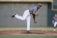 Starting pitcher Willy Taveras (40) of the Columbia Fireflies, playing as the Chicharrones de Columbia, delivers a pitch in a game against the Charleston RiverDogs on Friday, July 12, 2019 at Segra Park in Columbia, South Carolina. The RiverDogs won, 4-3, in 10 innings. (Tom Priddy/Four Seam Images)
