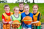 Lorcan Keane, Emily O'Riordan, Ronan Collins, Julie Moynihan and Hanorah Hurley having fun at the Gneeveguilla basketball club summer camp in Rathmore on Tuesday
