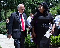 "United States Representative Steve King (Republican of Iowa) walks with Youtube Star ""Diamond"" Lynnette Hardaway after a press conference on sanctuary cities in Washington D.C., U.S. on June 12, 2019. Photo Credit: Stefani Reynolds/CNP/AdMedia"