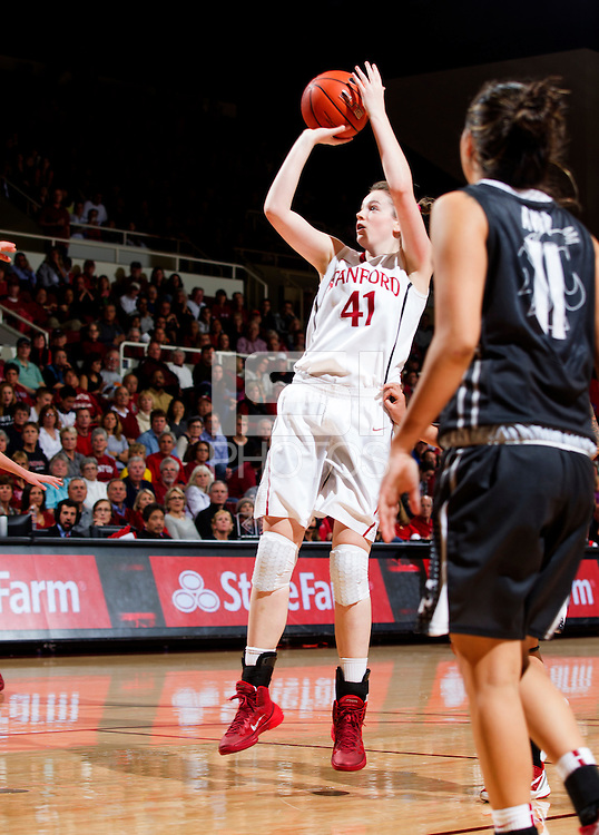 Stanford's Bonnie Samuelson, attempts making a basket during Stanford women's basketball  vs Washington State at Maples Pavilion, Stanford, California on March 1, 2014.