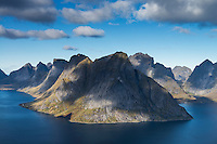 Mountain view towards Olstind from summit of Reinebringen, Reine, Moskenesoy, Lofoten Islands, Norway