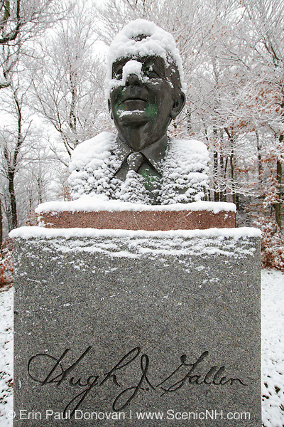 Franconia Notch State Park - Hugh J Gallen Monument in Franconia, New Hampshire, USA. This monument is located near the old Route 3 bridge along the Franconia Bike Path. He served as Governor of the state of New Hampshire from 1979 to 1982.