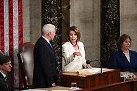 United States Vice President Mike Pence, left, and Speaker of the US House of Representatives Nancy Pelosi (Democrat of California) prior to US President Donald J. Trump delivering his second annual State of the Union Address to a joint session of the US Congress in the US Capitol in Washington, DC on Tuesday, February 5, 2019.<br /> Credit: Alex Edelman / CNP