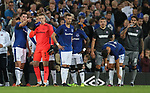 Michael Keane of Everton point towards the crowd violence during the Europa League Qualifying Play Offs 1st Leg match at Goodison Park Stadium, Liverpool. Picture date: August 17th 2017. Picture credit should read: David Klein/Sportimage