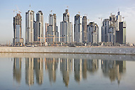 Buildings under construction reflected in Business Bay, Dubai
