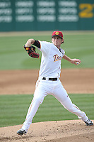 Kyle Twomey (24) of the Southern California Trojans pitches during a game against the Oakland Grizzlies at Dedeaux Field on February 21, 2015 in Los Angeles, California. Southern California defeated Oakland, 11-1. (Larry Goren/Four Seam Images)