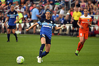 Kansas City, MO - Saturday May 07, 2016: FC Kansas City midfielder Erika Tymrak (15) against the Houston Dash during a regular season National Women's Soccer League (NWSL) match at Swope Soccer Village. Houston won 2-1.