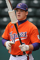 Catcher Phil Pohl (9) of the Clemson Tigers prior to a game against the South Carolina Gamecocks on Tuesday, March 8, 2011, at Fluor Field in Greenville, S.C.  Photo by Tom Priddy / Four Seam Images