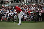 Dubai World Championship Golf. Earth Course,.Jumeirah Golf Estate, Dubai, U.A.E...Lee Westwood sinks his putt on the 18th to clinch the title during the final round of the Dubai World Golf championship..Photo: Fran Caffrey/www.golffile.ie...