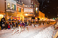 The start of the UP 200 sled dog race in downtown Marquette, MI