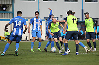 Sam Minihan (Stockport County) during the Vanarama National League North match between Nuneaton Town and Stockport County at the Liberty Way Stadium, Nuneaton, England on 27 April 2019. Photo by James  Gill.