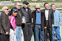 ARCADIA, CA  FEBRUARY 24: Trainer Peter Miller along with Victor Espinoza and connections after Conquest Tsunami wins Daytona Stakes (Grade lll) on February 24, 2018, at Santa Anita Park in Arcadia, CA. (Photo by Casey Phillips/ Eclipse Sportswire/ Getty Images)