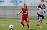 20180302 - LARNACA , CYPRUS : Austrian Viktoria Pinther (r) pictured watching Czech Katerina Svitkova (left) during a women's soccer game between Austria and Czech Republic , on friday 2 March 2018 at the AEK Arena in Larnaca , Cyprus . This is the second game in group B for Austria and Czech Republic during the Cyprus Womens Cup , a prestigious women soccer tournament as a preparation on the World Cup 2019 qualification duels. PHOTO SPORTPIX.BE | DAVID CATRY