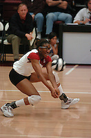 10 November 2005: Foluke Akinradewo during Stanford's 3-0 win over ASU at Maples Pavilion in Stanford, CA.