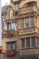 wrought iron sign maison des tetes colmar alsace france
