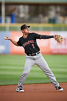 Daniel Castro (1) of the Albuquerque Isotopes during the game against the Salt Lake Bees at Smith's Ballpark on April 5, 2018 in Salt Lake City, Utah. Salt Lake defeated Albuquerque 9-3. (Stephen Smith/Four Seam Images)