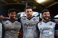 Amanaki Mafi, Charlie Ewels and Jeff Williams of Bath Rugby look on in a post match huddle. Aviva Premiership match, between Worcester Warriors and Bath Rugby on February 13, 2016 at Sixways Stadium in Worcester, England. Photo by: Patrick Khachfe / Onside Images
