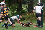 T. Niha dives over to score next to the posts. Counties Manukau Premier Club Rugby game between Bombay & Manurewa played at Bombay on Saturday June 14th 2008..Bombay won 19 - 12 after leading 12 - 0 at halftime.