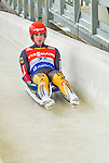 5 December 2014: Johannes Ludwig, sliding for Germany, crosses the finish line on his first run, ending the day with a 8th place finish and a combined 2-run time of 1:43.538 in the Men's Competition at the Viessmann Luge World Cup, at the Olympic Sports Track in Lake Placid, New York, USA. Mandatory Credit: Ed Wolfstein Photo *** RAW (NEF) Image File Available ***