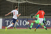 Ignacio Jara scores Chile's opening goal during Chile Under-21 vs England Under-20, Tournoi Maurice Revello Football at Stade Parsemain on 7th June 2019