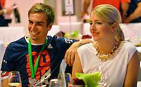 FUSSBALL  DFB POKAL FINALE  SAISON 2013/2014 Borussia Dortmund - FC Bayern Muenchen     17.05.2014 FC Bayern Bankett in der Telekom Zentrale;  Phillip Lahm (li) and Claudia Lahm