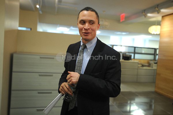 U.S. Senate Candidate, Harold Ford Jr. , speaks with the media after a meeting with top abortion rights group NARAL Pro-Choice NY, who have endorsed Democratic Senator Kirsten Gillebrand, at their offices in New York. February 2, 2010. Credit: Dennis Van Tine/MediaPunch
