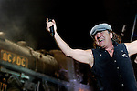 Brian Johnson of Australian rock band AC/DC gestures to the crowd during a concert on their Black Ice tour, Friday, Jan. 9, 2009, at the Rogers Centre in Toronto. (Arthur Mola/pressphotointl.com)