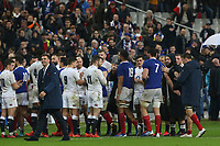 2nd February 2020, Stade de France, Paris; France, 6-Nations International rugby union, France versus England;  The English team applaud the French from the field