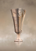 Minoan marble fluted chalice with fine four fold walls, Zakros central sanctuary complex 1500-1400 BC; Heraklion Archaeological  Museum.