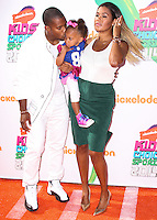 WESTWOOD, LOS ANGELES, CA, USA - JULY 17: Victor Cruz, Kennedy Cruz, Elaina Watley at the Nickelodeon Kids' Choice Sports Awards 2014 held at UCLA's Pauley Pavilion on July 17, 2014 in Westwood, Los Angeles, California, United States. (Photo by Xavier Collin/Celebrity Monitor)