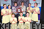 CHAMPIONS: The Valentia who were the overall champions in the Scór Na bPaistí 2014 in Tintean Theatre,Ballybunion on Sunday who were presented with their prize by Siobhan Cotter, Front l-r: Caoimhe Cournane, Ruth Ó Shea and Roisin Cusack. Back l-r: Caoimhe O'Shea,Maeve Daly,Siobhan Cotter, Susan Daly(Scóe Officer), Chondna Guiney and Abbie Daly.
