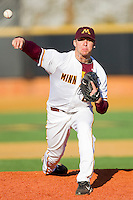 Relief pitcher Cullen Sexton #21 of the Minnesota Golden Gophers in action against the Towson Tigers at Gene Hooks Field on February 26, 2011 in Winston-Salem, North Carolina.  The Gophers defeated the Tigers 6-4.  Photo by Brian Westerholt / Sports On Film