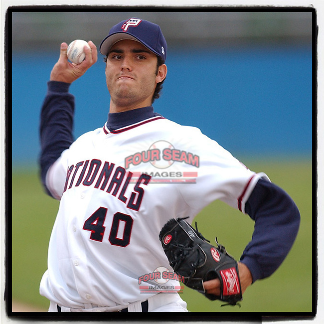 """#OTD On This Day, April 29, 2005, Armando Galarraga of the Potomac Nationals pitched in a game at Pfitzner Stadium in Woodbridge, Va. He is best known for pitching the """"Imperfect Game"""" for Detroit on June 2, 2010, when he missed a perfect game by one umpire's ninth-inning bad call. (Tom Priddy/Four Seam Images) #MiLB #OnThisDay #MissingBaseball #nobaseball #stayathome #minorleagues #minorleaguebaseball #Baseball #SallyLeague #AloneTogether"""