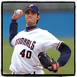 "#OTD On This Day, April 29, 2005, Armando Galarraga of the Potomac Nationals pitched in a game at Pfitzner Stadium in Woodbridge, Va. He is best known for pitching the ""Imperfect Game"" for Detroit on June 2, 2010, when he missed a perfect game by one umpire's ninth-inning bad call. (Tom Priddy/Four Seam Images) #MiLB #OnThisDay #MissingBaseball #nobaseball #stayathome #minorleagues #minorleaguebaseball #Baseball #SallyLeague #AloneTogether"