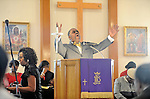 The Reverend Reginald Tarpley gives his sermon at Cecil Memorial United Methodist Church in Parole.