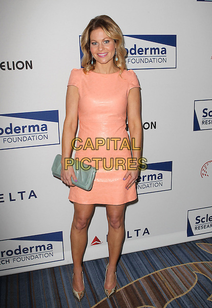 Candace Cameron Bure.Scleroderma Research Foundation's Cool Comedy - Hot Cuisine Held At The Regent Beverly Wilshire Hotel, Beverly Hills, California, USA..April 30th, 2013.full length pink leather dress orange peach clutch bag grey gray green pointy gold shoes.CAP/ADM/KB.©Kevan Brooks/AdMedia/Capital Pictures