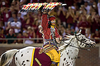 September 7, 2009:   Florida State mascot Chief Osceola rides the field after a Florida State touchdown during Atlantic Coast Conference action between the Miami Hurricanes and Florida State Seminoles at Doak Campbell Stadium in Tallahassee, Florida.   Miami defeated Florida State 38-34.